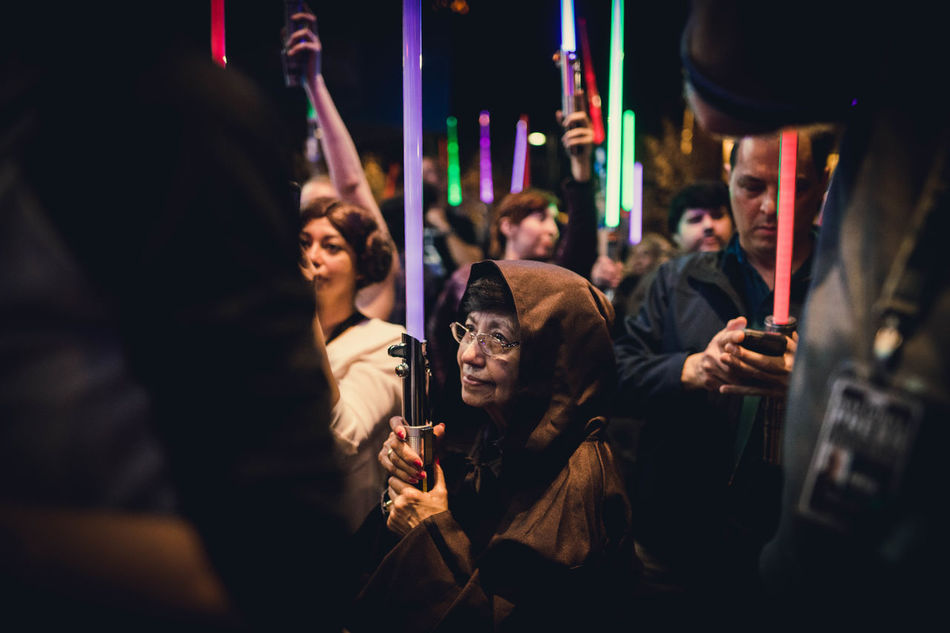 Last night I attended a lightsaber vigil in honor of Carrie Fisher. Amazing to see so many people of different ages and backgrounds gathered together for one common interest. May the force be with you, Leia. Crowd People City Arts Culture And Entertainment Night Lightsaber Star Wars Princess Leia The Empire Strikes Back Return Of The Jedi LucasFilm Portrait Purple George Lucas Nightlife Small Group Of People Music