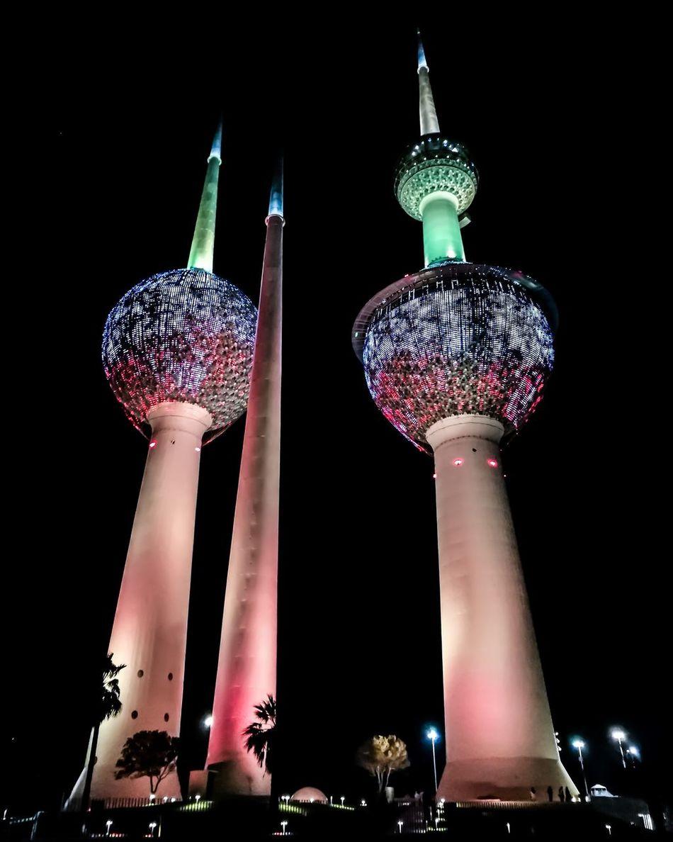 Illuminated Black Background Beauty In Nature Landscape Kuwaitphoto Kuwait Urban Skyline Kuwait City Outdoors Sky