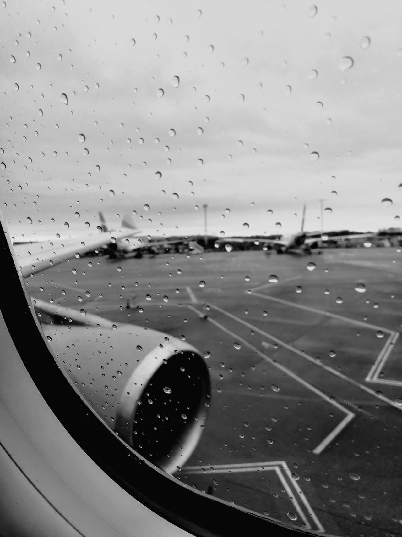 Transportation Airport Airplane Travel Window Airport Runway No People Day Sky Air Vehicle Close-up Outdoors Runway Passenger Boarding Bridge Rainy Day Rainy Window Say Goodbye Fly Away Goodbye Sad Day Sad Farewell Travel