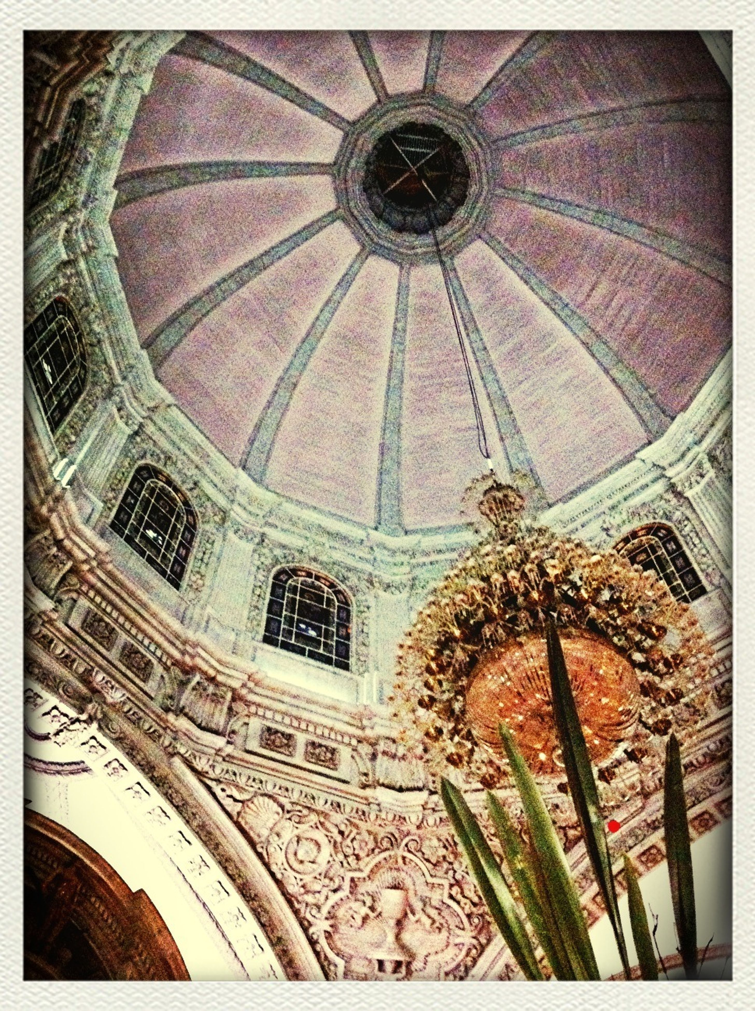 transfer print, architecture, low angle view, built structure, auto post production filter, building exterior, ceiling, church, indoors, pattern, religion, design, architectural feature, ornate, place of worship, window, art and craft, day, arch, no people