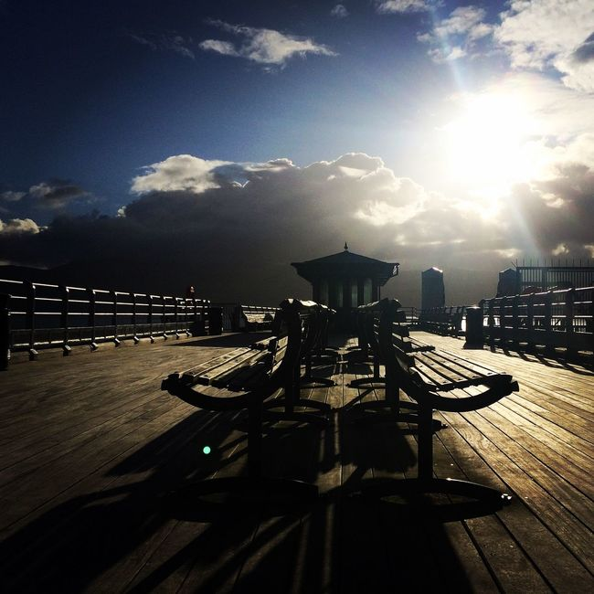 Pier Seaside Weather Perspective Beach Cloud - Sky Wales