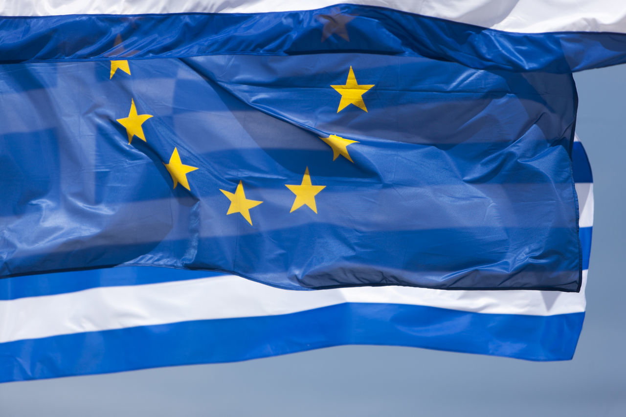 Blue Close-up Day Europe European Flag European Union Flag Flags Greece Greek Flag No People Outdoors Patriotism Sky Stripes Pattern White Windy Yellow