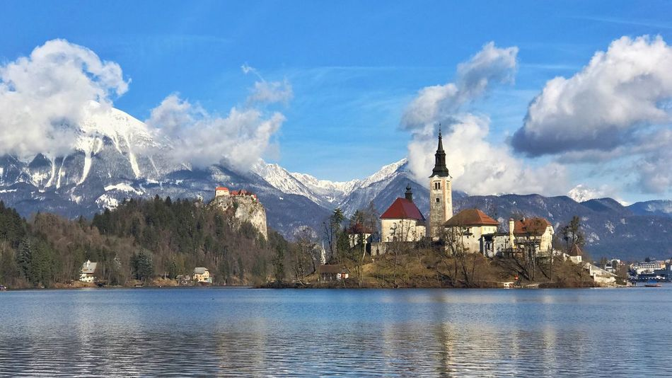 Mountain Sky Scenics Day No People Outdoors Lake Landscape Snow Architecture Castle Bled, Slovenia