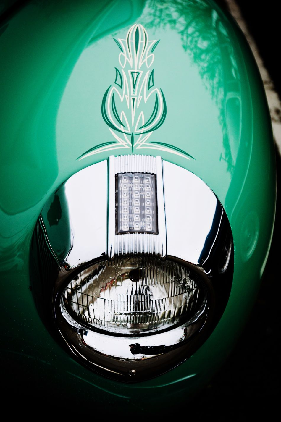 Hotrod Headlight HotRod Chrome Headlights Green Pinstripe  Custom Automobile