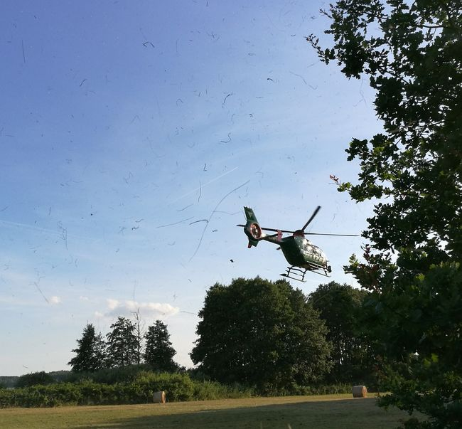 Helicopter Starting Police Helicopter Rescue Services Malchow Mecklenburg Fleesensee
