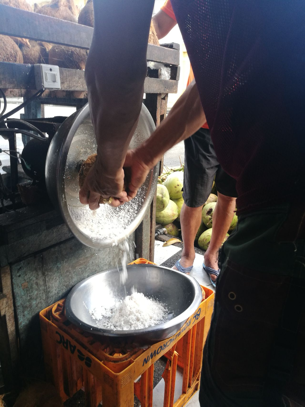 Shredded coconut meat. This man's daily grind. Foodphotography Food Preparation Ingredients Working EyeEmNewHere