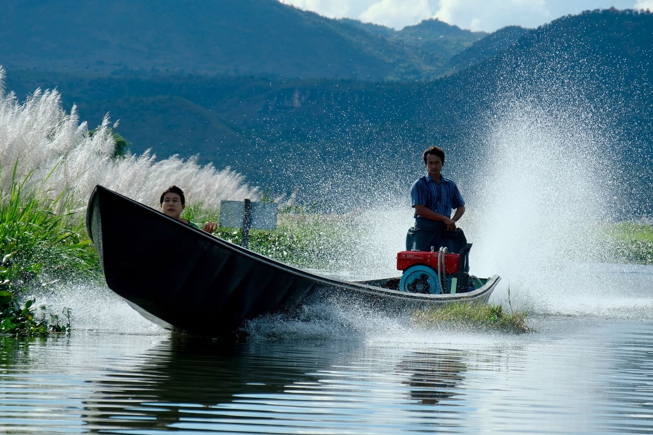Boat Transportation Mountain Outdoors Lake Swamp Water People Day Nature Portrait Motion Action Frozen In Time Water Reflections Reflection Reflections In The Water Water Splash Speed Travel Traveling Check This Out Popular Photos in Inle Lake , Myanmar