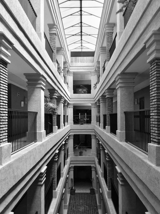 Second Floor Barcelo Punta Umbria Beach Resort SPAIN Holiday Vacation Architecture Indoors  Built Structure No People Library Symmetry Day Blackandwhite Monochrome Bnw