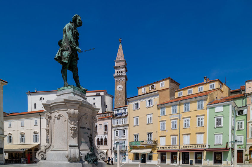 Architecture Blue Building Exterior City Clear Sky Colorful Historic Landmark Low Angle View Monument Picturesque Piran Piran/Pirano Sculpture Sky Slovenia Statue Tartini Tartini Square Travel Destinations Urban