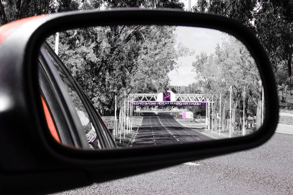 Mount Panorama Bathurst Australia Motorsport Black And White Collection  Side-view Mirror Reflection Transportation Car Mode Of Transport Mirror Land Vehicle Window Road Day No People Vehicle Mirror Tree Outdoors Reverse Text Perspective ...