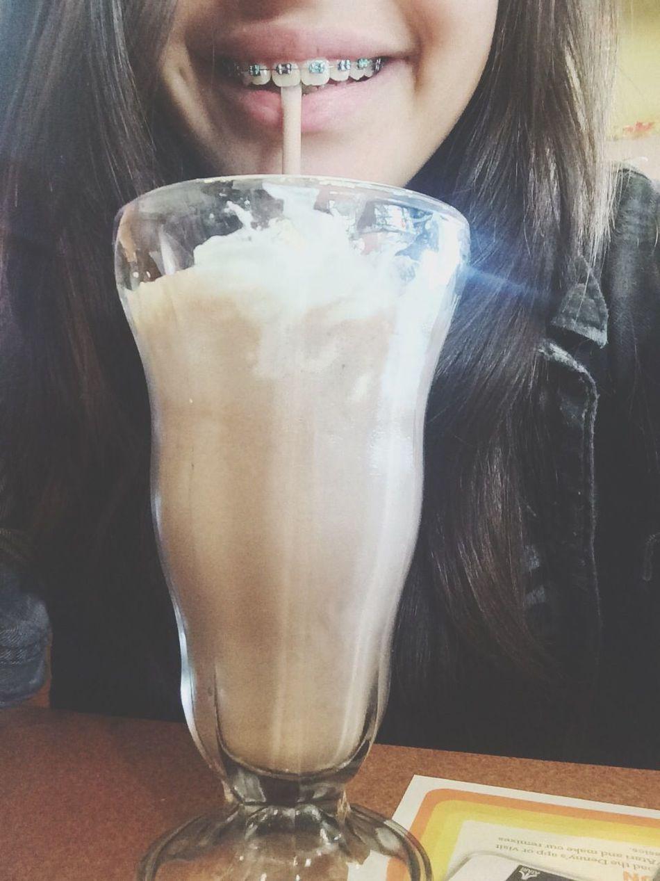 Denny's around 10. (: milkshakes are just my thing. Breakfast Milkshake Braces Denny's First Eyeem Photo