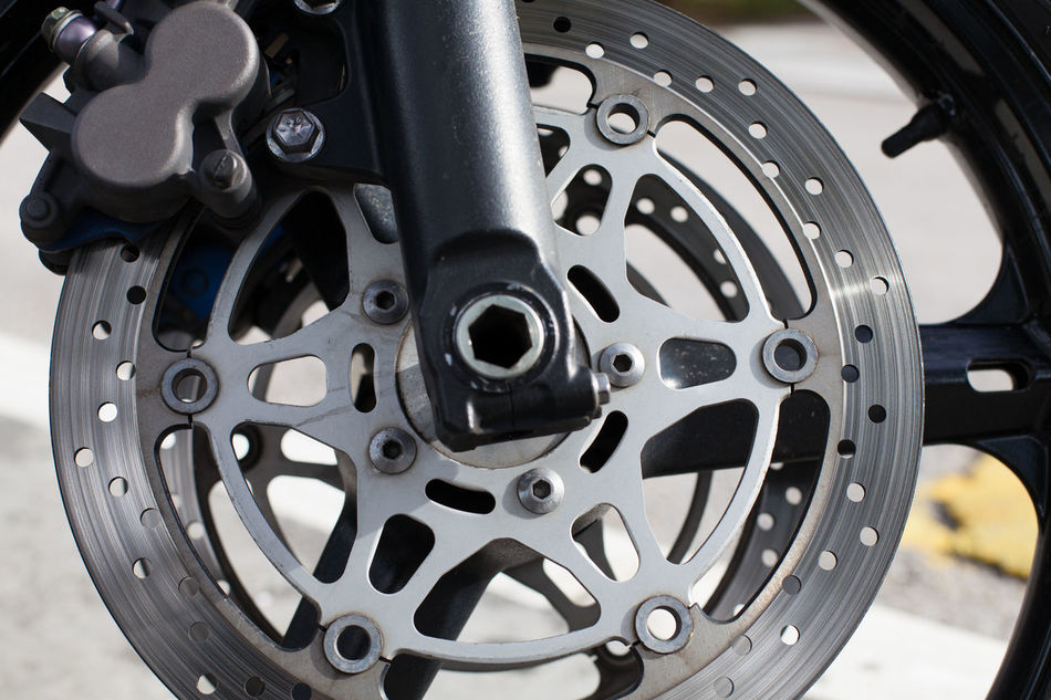 motorcycle disc brakes Bike Brakes Chrome Close-up Detail Disk Drive Gear Land Vehicle Metal Modern Motorbike Motorcycle Outdoors Power Road Round Silver  Speed Sport Steel Technology Tire Transportation Wheel