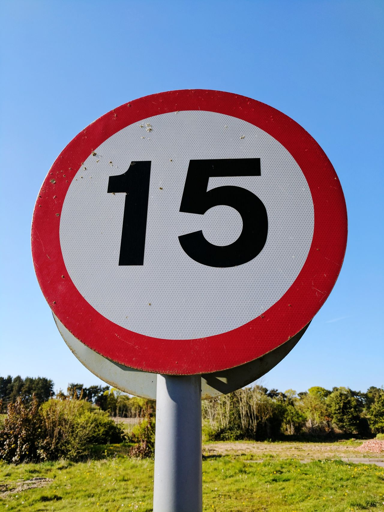 Road Sign Circle Speed Limit Sign Number Communication Red No People Day Outdoors Sky Close-up Clear Sky Blue Sky 15 Number 15
