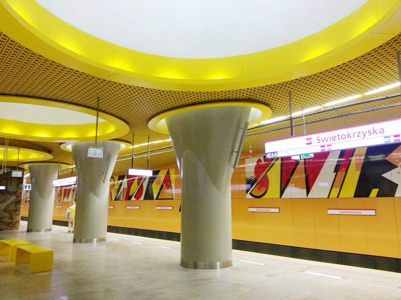 ceiling, illuminated, indoors, yellow, subway station, underground, transportation, built structure, architecture, no people, pillar, public transportation, modern, architectural column, day