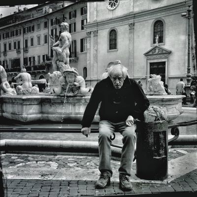 streetphoto_bw at Piazza Navona by Giovanna