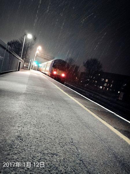 Transportation Travel Night Illuminated Snowing No People Wet City Winter London