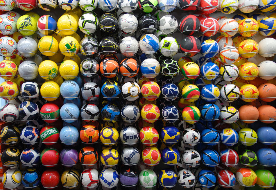 Adidas Athletics Ball Colorful Colors Football Full Frame Large Group Of Objects Lisboa Lisbon Mikasa Multi Colored Nike Nikon Portugal Puma Sport Sport Shop Store Volleyball System Row EyeEmNewHere