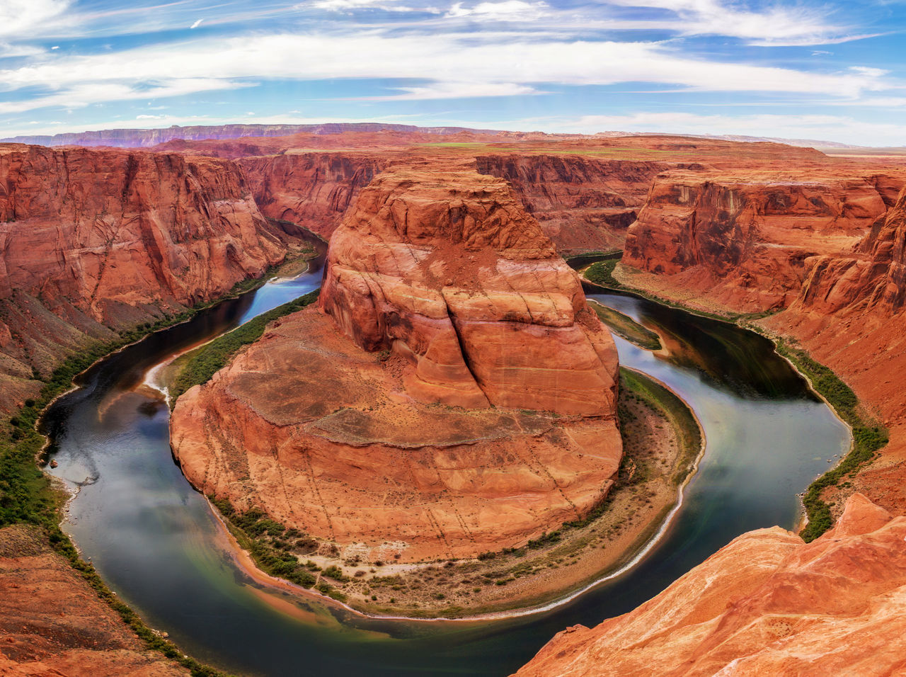 Arid Climate Beauty In Nature Canyon Cloud - Sky Day Desert Geology Horseshoe Bend Landscape Nature No People Outdoors Rock - Object Rock Formation Scenics Sky Topaz Glow Tourism Travel Travel Destinations Water Wilderness