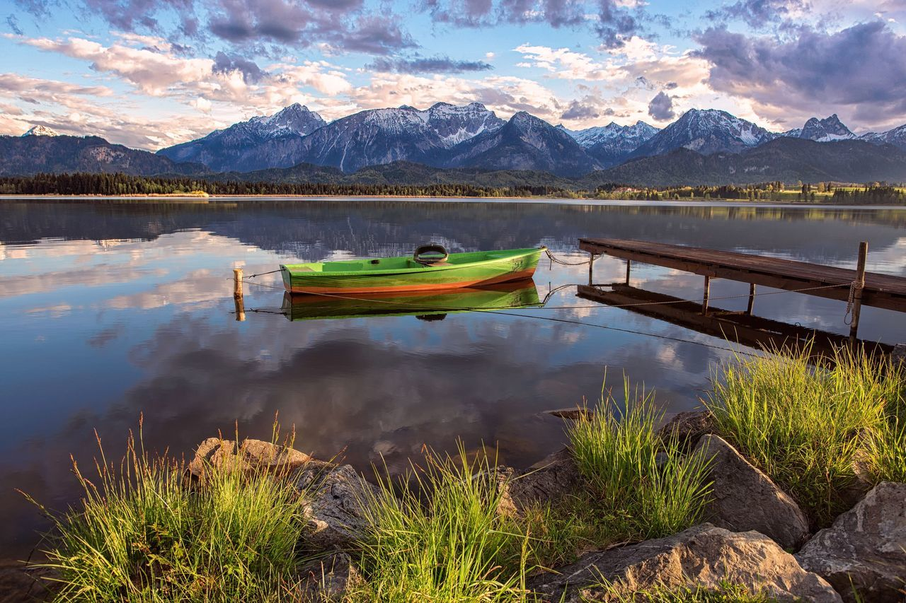 Mountain Lake Water Tranquility Mountain Range Reflection Nature Scenics Beauty In Nature Tranquil Scene Outdoors Day Sky Nautical Vessel Moored Landscape No People Snow Sunset Hopfensee Alps Allgäu