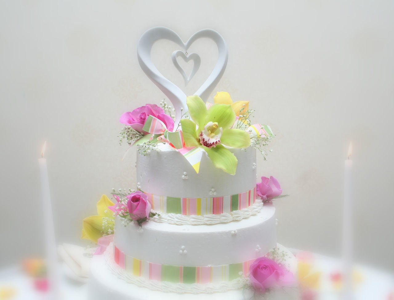 Cake Candles Colour Of Life Decoration Flower Fragility Freshness Hearts No People Rose - Flower Selective Focus Still Life Wedding Cake Millennial Pink