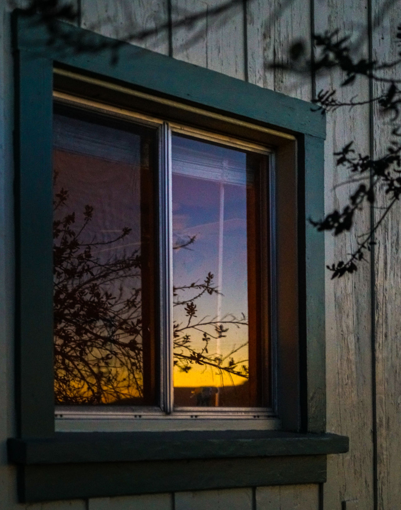 Colorful Cottage Glass Glass - Material Holiday Home Exterior Light And Shadow Looking Through Window No People Reflection Sunset Sunset Silhouettes Transparent Window Window Sill