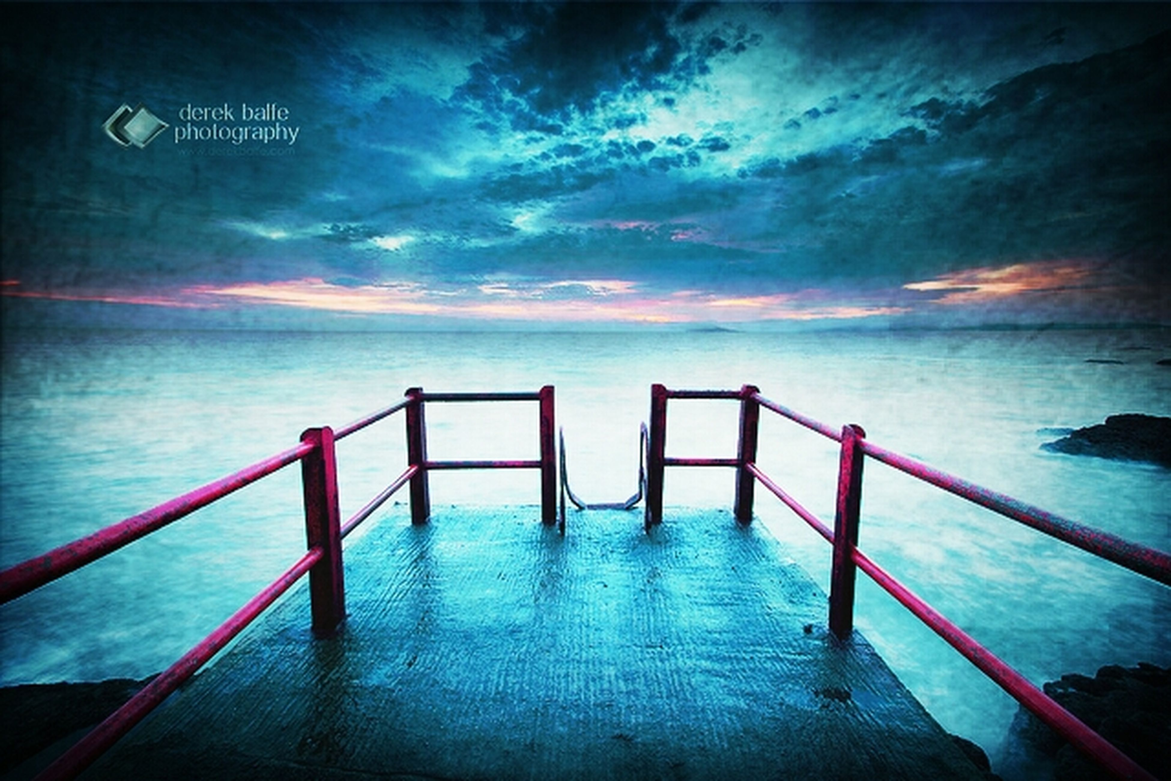 water, sea, sky, pier, tranquil scene, tranquility, horizon over water, scenics, beauty in nature, cloud - sky, nature, built structure, cloud, idyllic, railing, jetty, wood - material, calm, cloudy, outdoors