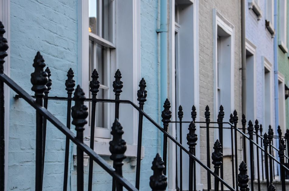 One after the other Building Exterior Built Structure Architecture Outdoors City Day Houses Fence Colourful Colorful Chelsea Chelsea, UK