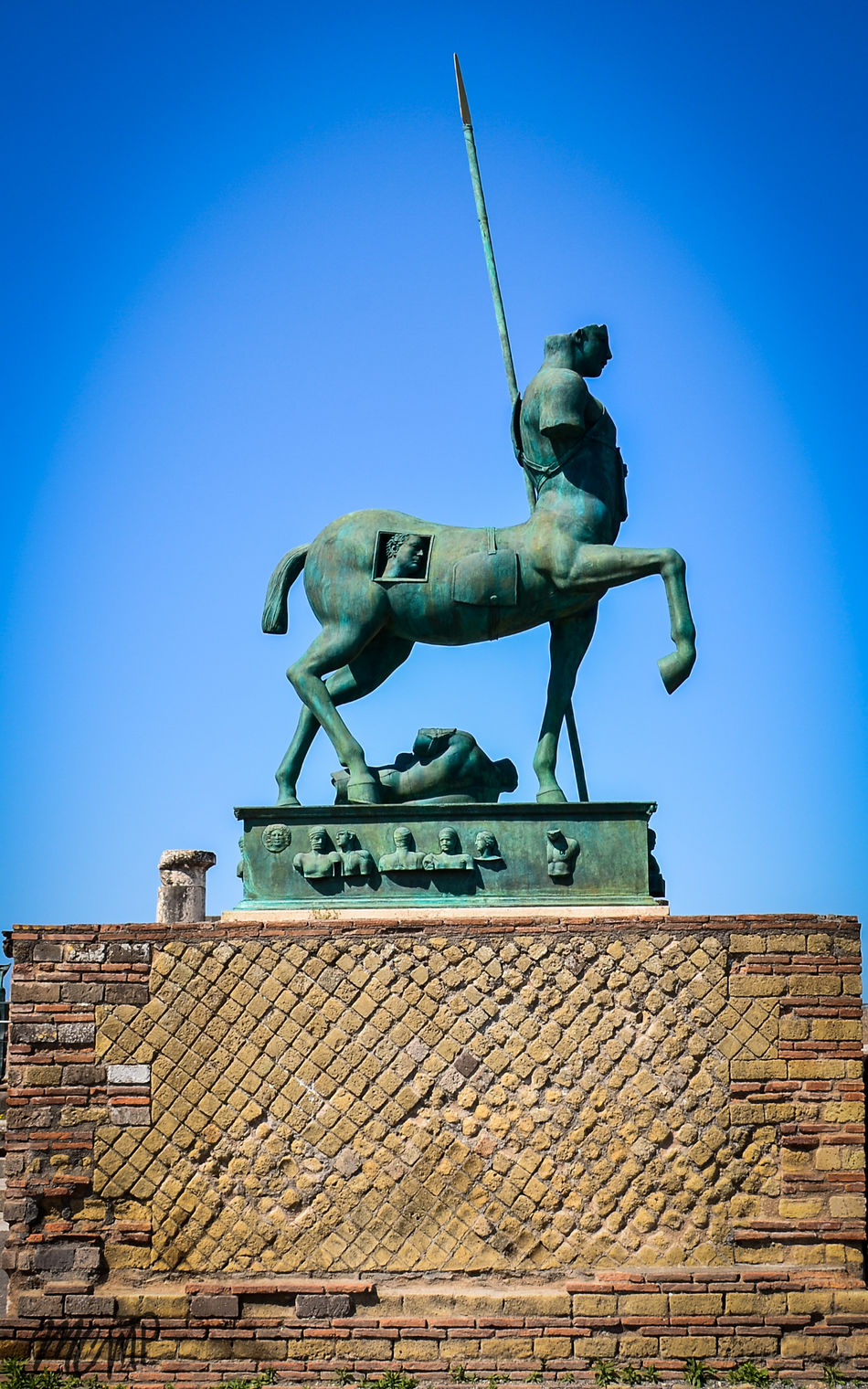 Architecture Art And Craft Blue Building Exterior Built Structure Clear Sky Day Human Representation King - Royal Person Low Angle View Male Likeness No People Outdoors Sculpture Shield Sky Statue Travel Destinations