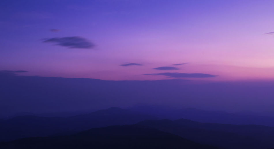 serenity - silhouette mountains with magic skyline Nature On Your Doorstep Nature Photography Pink Sunrise Beauty In Nature Blue Cloud - Sky Dusk Landscape Magical Sky Misty Morning Mountain Mountain Range Mountain Scenery Mountain Silhouette Mountains And Sky Nature Night No People Outdoors Pink Color Scenics Silhouette Sky Space Sunrise