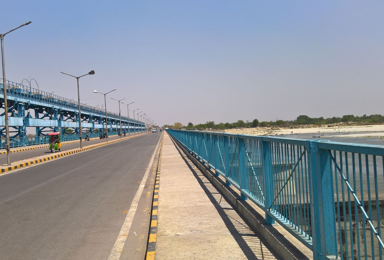 Luv Kush Barrage on River Ganga in anpur. Architecture Barrage Bridge - Man Made Structure Built Structure Clear Sky Day Ganga Ganga River Nature Outdoors Pavement Railing Road Sky The Way Forward Transportation Water