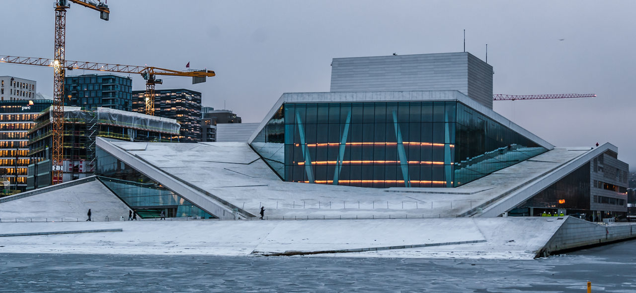 architecture, built structure, building exterior, winter, cold temperature, no people, outdoors, snow, modern, day, city, water, sky, nature