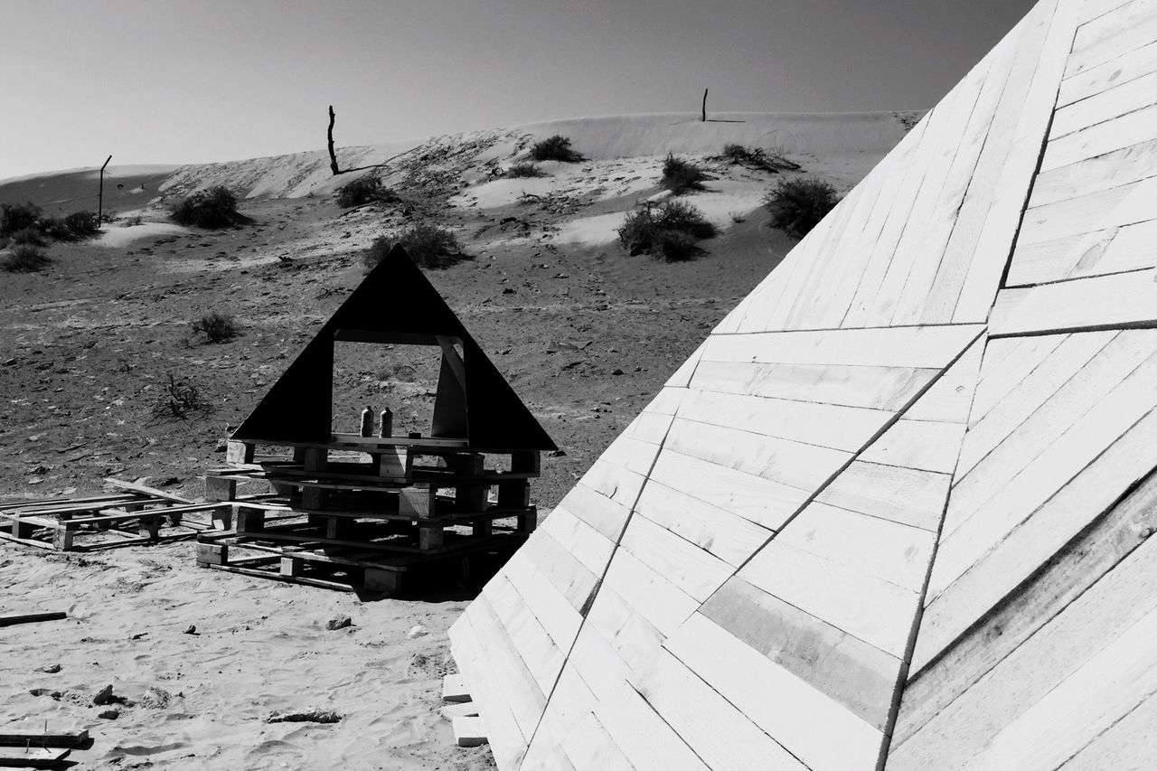 Pyramid Geometric Shapes Objects Wooden Desert Outdoor Blackandwhite