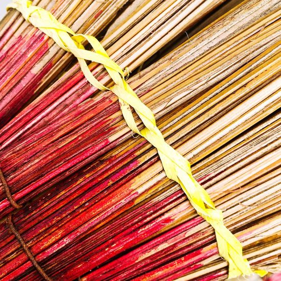 Stick broom, coconut broom or Tagmaprgaw broom in thai - Backgrounds Abstract Asian Culture Broomstick Broom Close-up Coconut Crafts Culture Design Detail Folk Material Nature Old Pattern Rope Stick Wood Sweep Swab Yellow Red