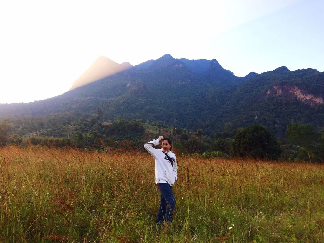 Sunset Evening Cold Nature Mountain Beauty In Nature Standing One Person Tree Outdoors Landscape Sky Thailand Chaing Mai DoiluangChiangDao