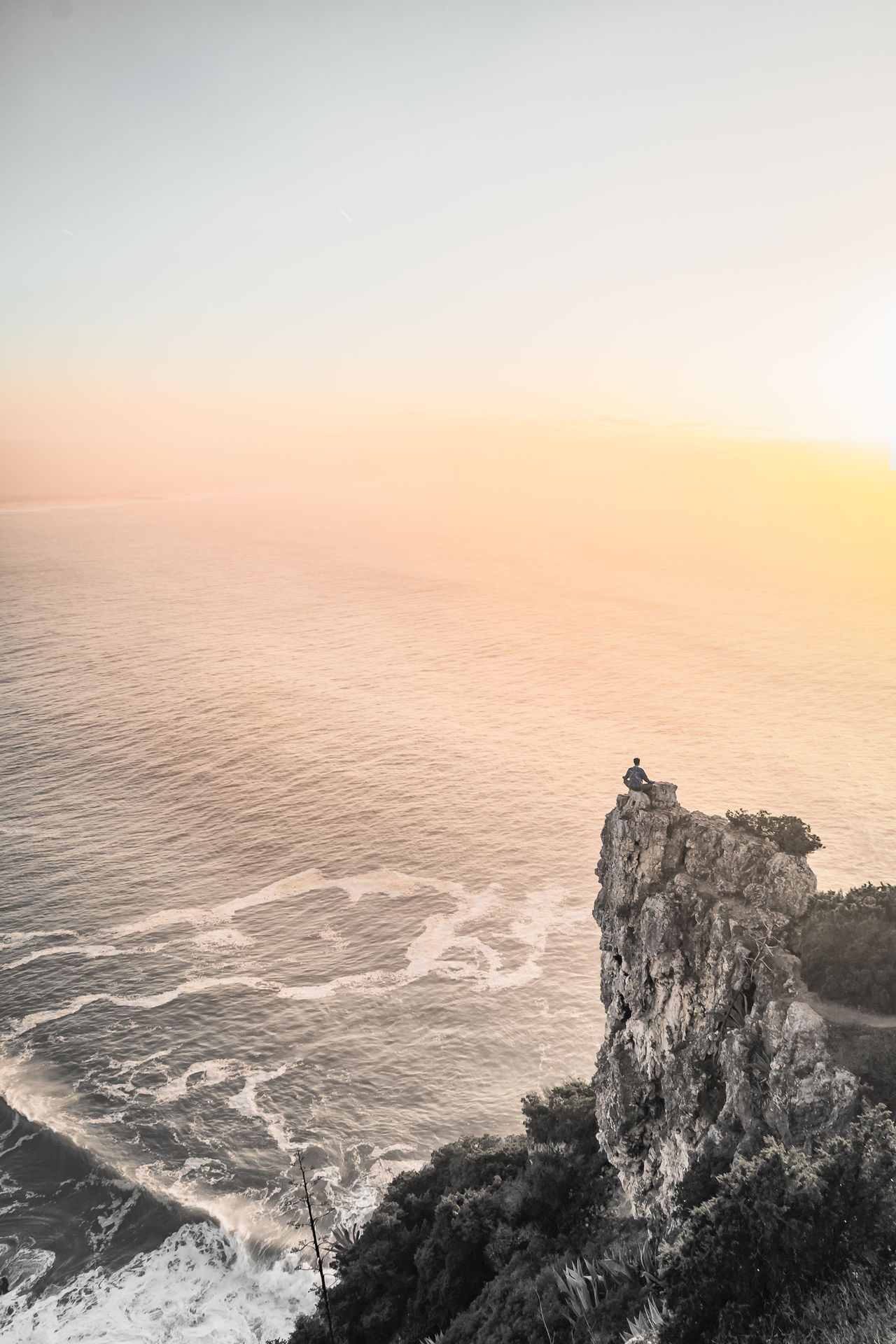 Beauty In Nature Black & White Black And White Blackandwhite Cliff Day Landscape Nature Nature Outdoors Overhang Scenics Sea Sea And Sky Seascape Sky Sunset Sunset #sun #clouds #skylovers #sky #nature #beautifulinnature #naturalbeauty #photography #landscape Sunset_collection View From Above Waves