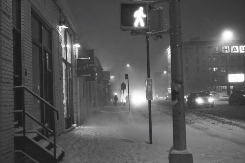 Illuminated Night City Street Street Light Architecture Lighting Equipment Built Structure Building Exterior Winter Snow No People Cold Temperature Outdoors Snowing Snow ❄ Brooklyn Snow Day Winter Street Light Walking In The Snow