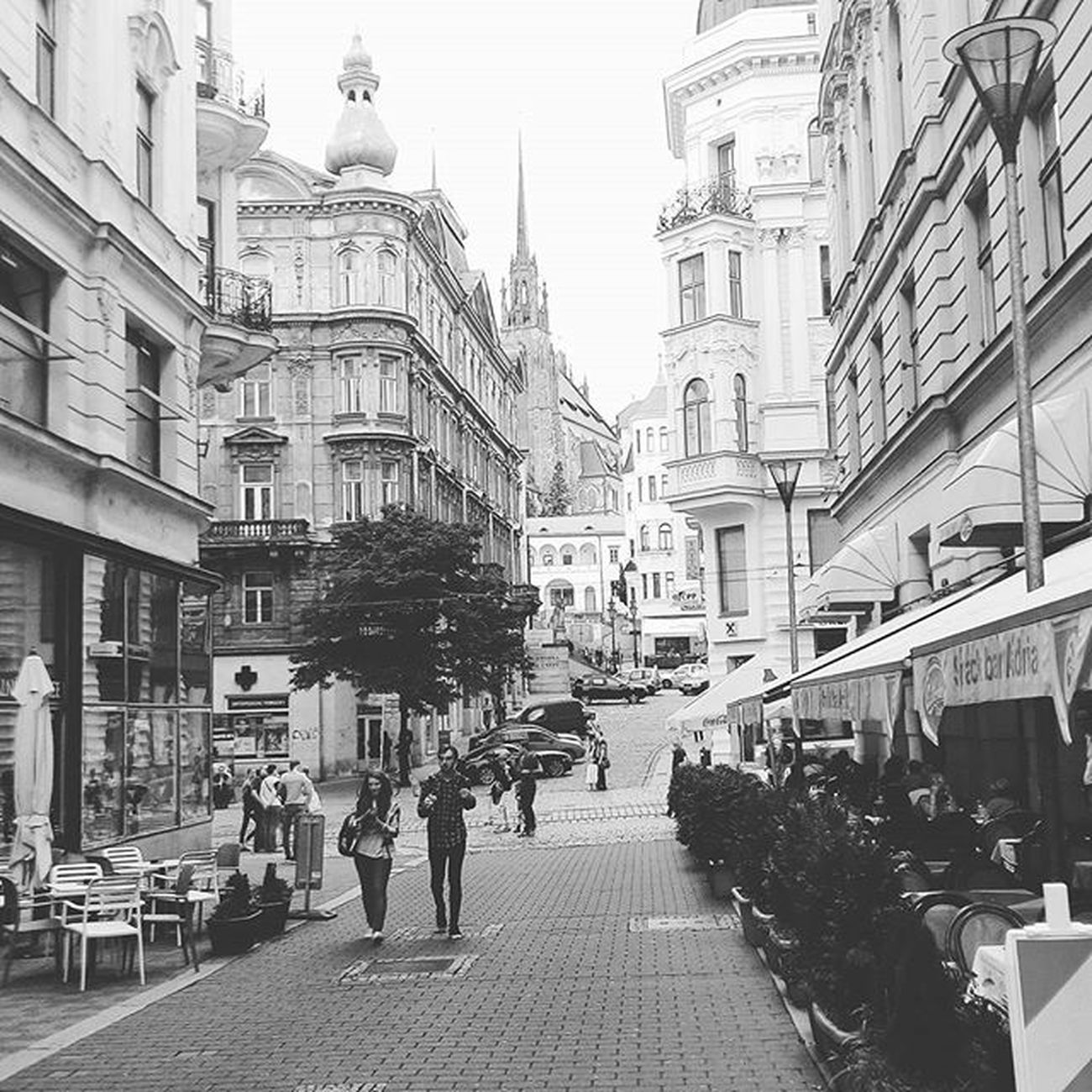 Brno Takie Piekne Romantic Blackandwhite Street Czechrepublic Walking Vintage Art Church People L4l