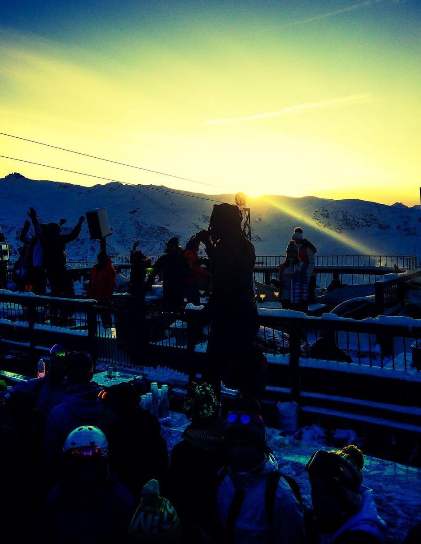La folie douce till the sun goes down France Skiing Nightlife Lafoliedouce Night Ski Sunset Sunset Silhouettes Meribel Three Valleys Party