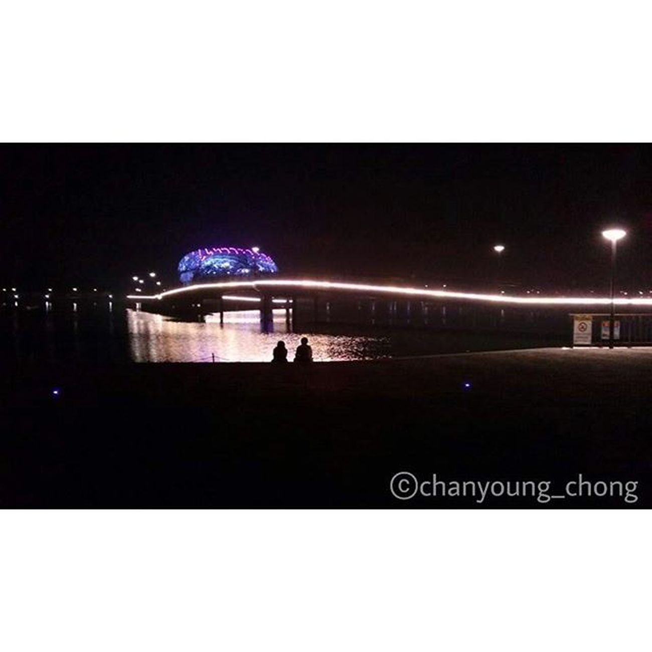 대한민국 세종 호수공원 연인 가로등 밤 사진 Korea Sejong Lakepark Couple Streetlight Illumination Night Photo