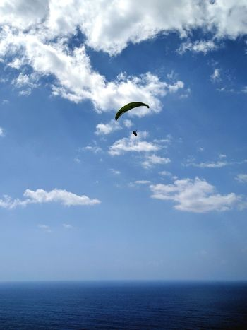 Stanwellpark Stanwell Tops Paragliding Blue Sky Clouds Water Sillouette Flying Blue Cloud - Sky Sky Adventure Sea Extreme Sports Leisure Activity Parachute Outdoors Day Sport Nature Scenics One Person Paragliding Parasailing Hot Air Balloon First Eyeem Photo