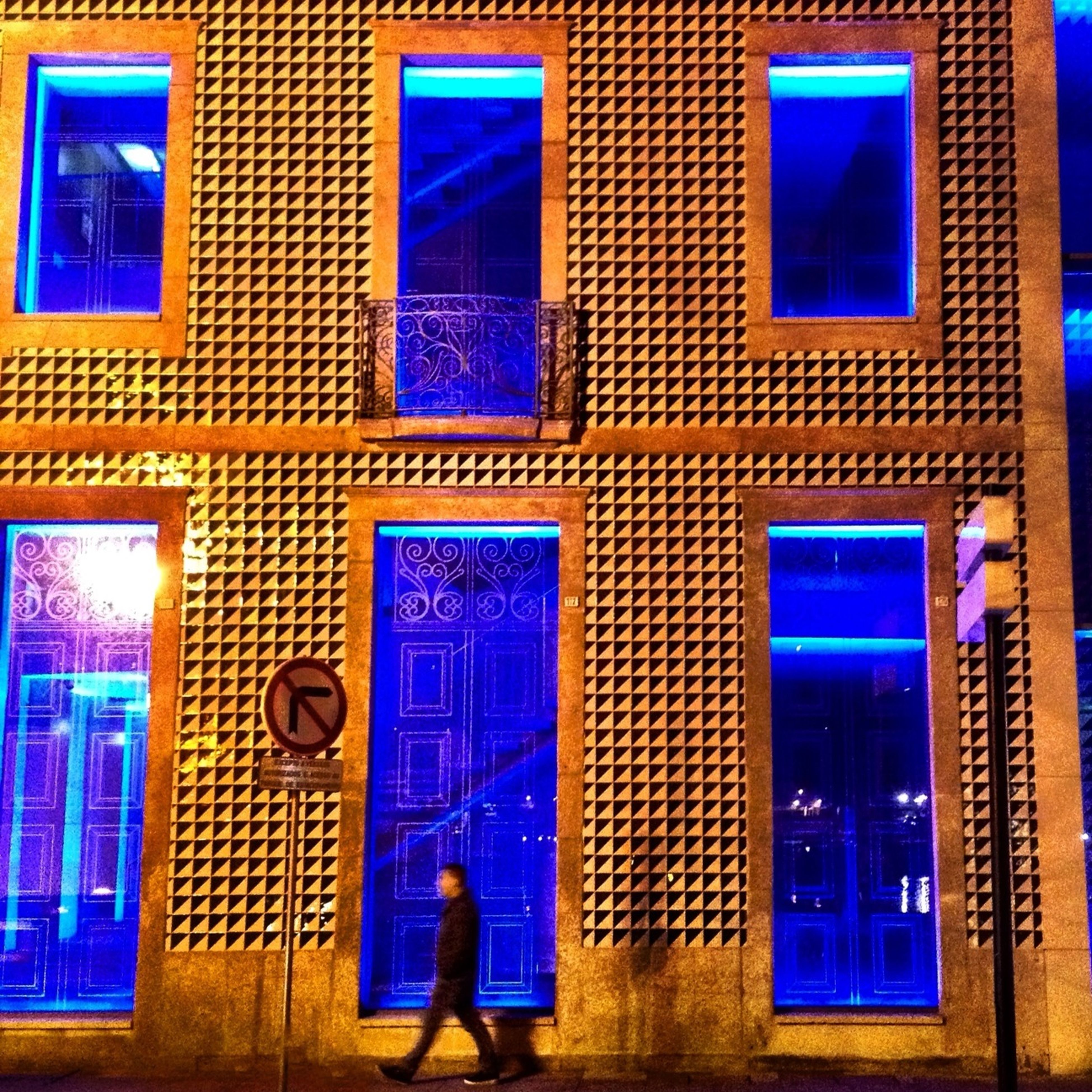 blue, building exterior, architecture, built structure, window, city, multi colored, auto post production filter, residential building, building, glass - material, day, purple, outdoors, residential structure, no people, illuminated, house, transfer print, closed