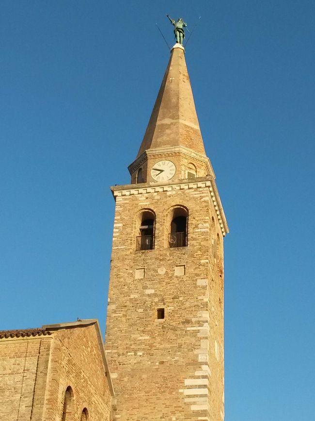 Basilica of Sant'Eufemia Patriarchal Basilica Archangel Michael Architecture Basilica Bell Tower Bell Tower - Tower Building Exterior Cathedral Church Clear Sky Clock Tower Copper  Low Angle View Sky
