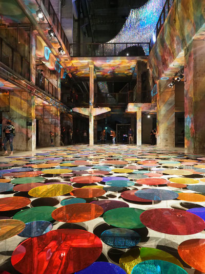 Industry Reflection Barrel Day Dots Floor Hall Indoors  Layers Multi Colored No People Perspectives Playground