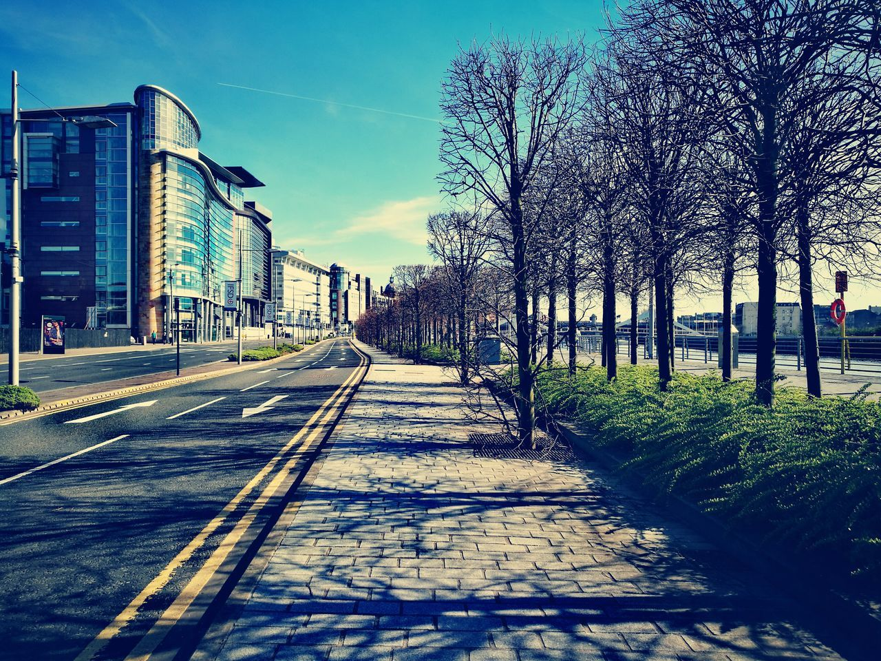 architecture, building exterior, built structure, outdoors, tree, city, the way forward, road, sky, day, no people, bare tree, nature
