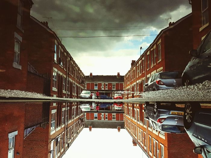 This Is Perspective day 1. Perspective Terraced Street Rainy Day Upside Down Down Low Puddleography Reflection