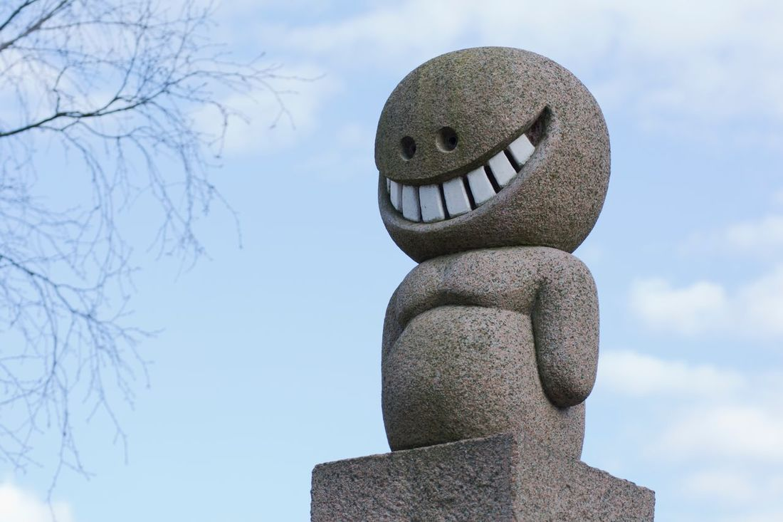 The happiest statue Human Representation No People Sculpture Day Statue Outdoors Sky Anthropomorphic Face Close-up Happy Happiness Smile Teeth Grin Art Is Everywhere