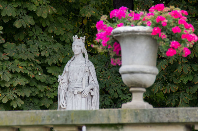 Beauty In Nature Flower Fragility France Garden Gardens Green Color Growth Human Representation Jardin Du Luxembourg Leaf Lush Foliage Marble Nature Paris Park Park - Man Made Space Plant Statue Woman