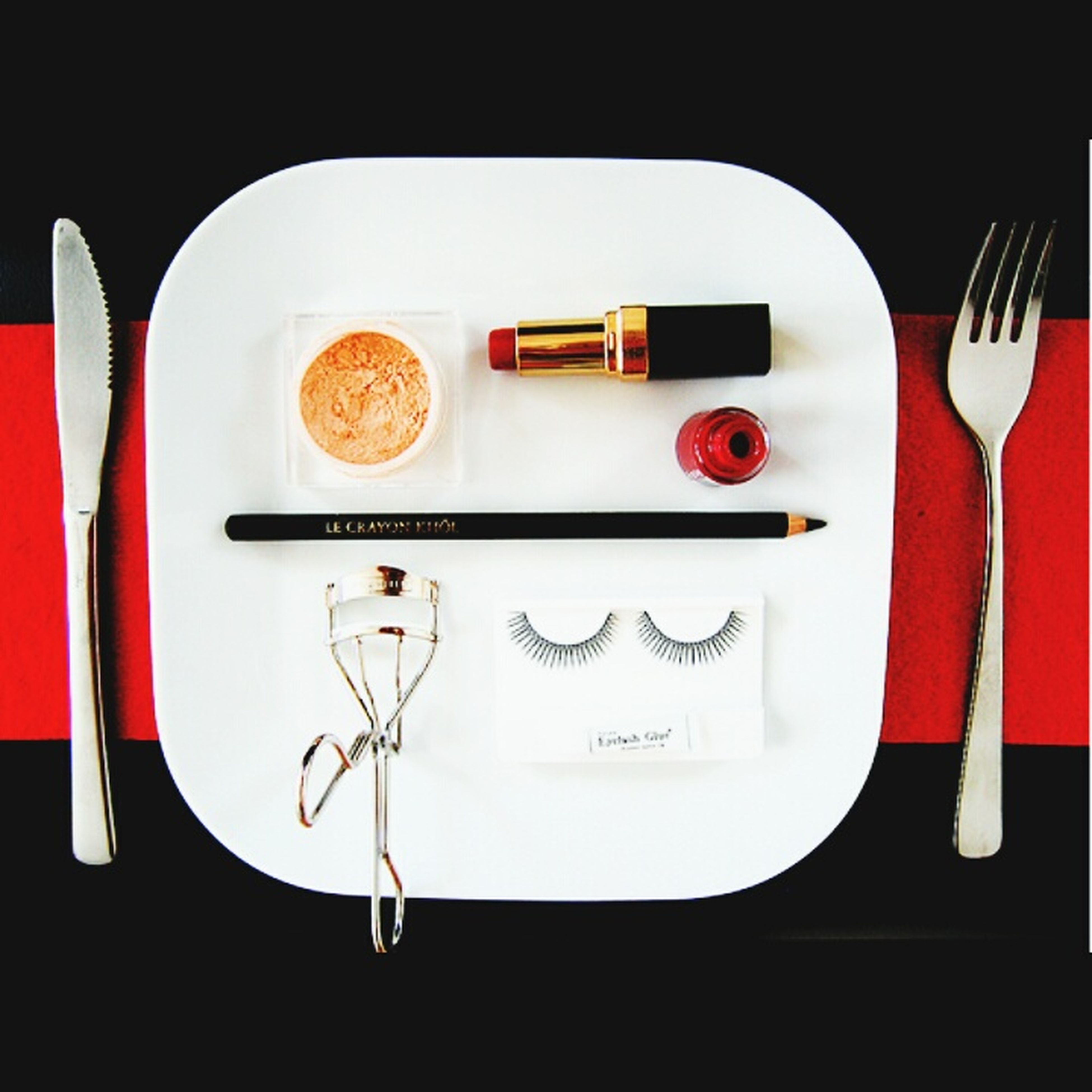 indoors, food and drink, still life, table, red, food, plate, close-up, fork, freshness, studio shot, communication, ready-to-eat, high angle view, text, western script, indulgence, white color, no people, paper