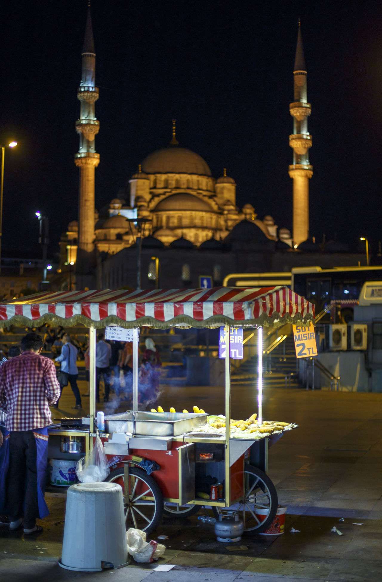 Roasted corn cart - Istanbul, Turkey Architecture Cart City City Life Cityscapes Corn Snake Eminünü Islam Islamic Islamic Architecture Istanbul Istanbul City Istanbul Turkey Learn & Shoot: After Dark Mosque Night Nightlife Roasted Corn Roasted Corn Cart Traffic Lights Trafficlight