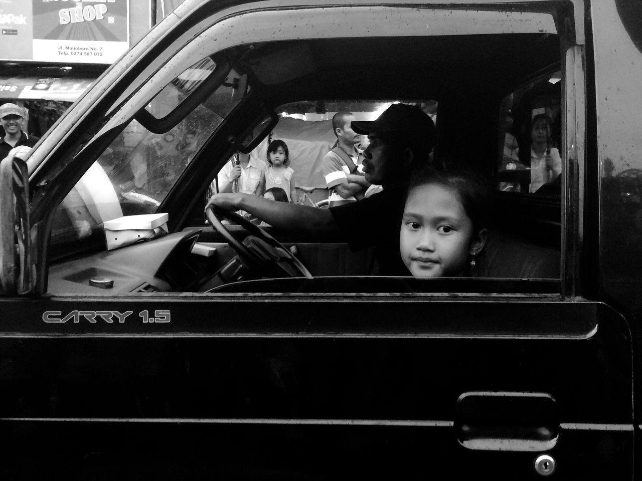 Car Looking At Camera Portrait Young Women Blackandwhite Streetphoto Transportation TheWeek On EyEem 12DaysofEyEm Iphone5s IPhoneography Iphonesia
